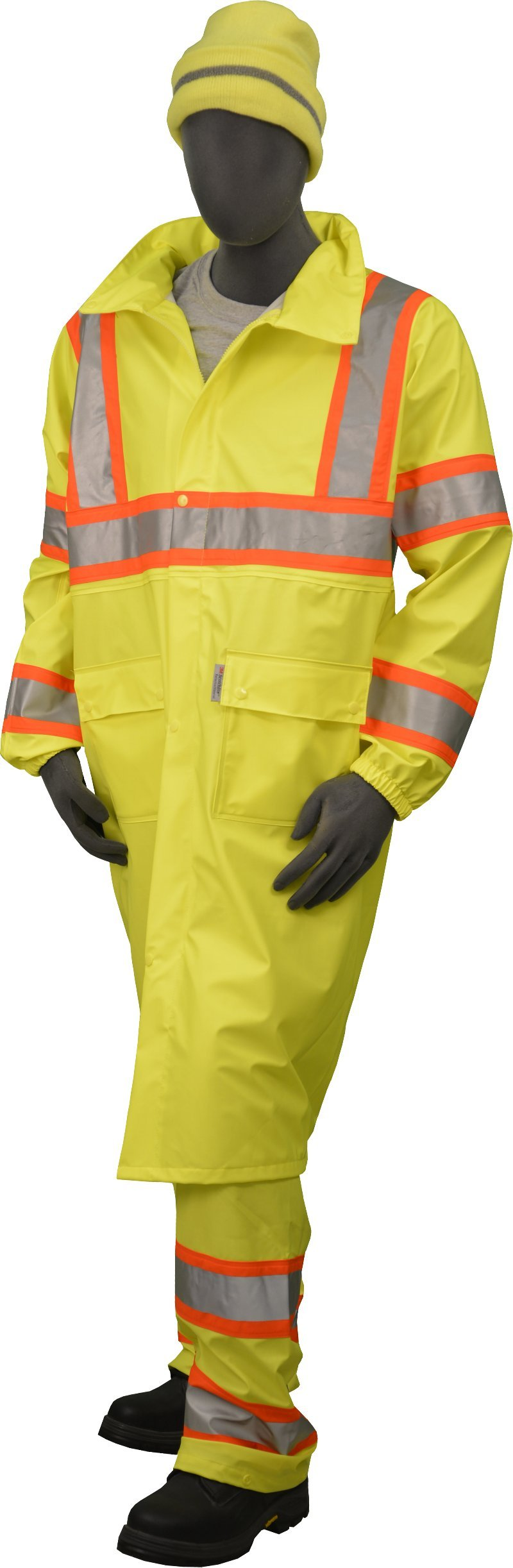 Majestic Glove 75-7303 Polyester High Visibility DOT Rain Coat with Concealed Hood, 48'' Length, X-Large, Yellow