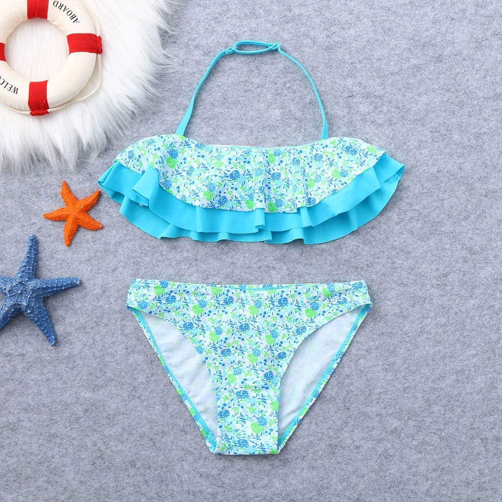 Kids Girls Two Piece Bikini Swimsuit Floral Printed Hawaiian Ruffled Swimwear Swimsuits Beach Bathing Suit Meisiqw
