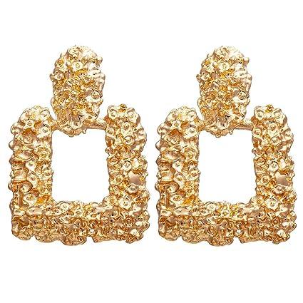 45537aae8 Amazon.com: Toponly Statement Drop Earrings Large Metal Crystal Geometric Dangle  Earrings Silver/Gold for Women Girls: Home & Kitchen