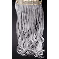 """FIRSTLIKE 24"""" Curly Silver Grey Clip In Hair Extensions Thick 3/4 Full Head Long One Piece 5 clips Soft Ladies Hairpiece"""