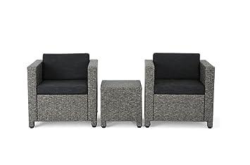 Christopher Knight Home Puerta Grey Outdoor Wicker Sofa Set (3 Piece Set)