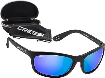 Cressi Rocker Gafas, Unisex Adulto, Negro/Lentes Reflejado Azul, Talla Única