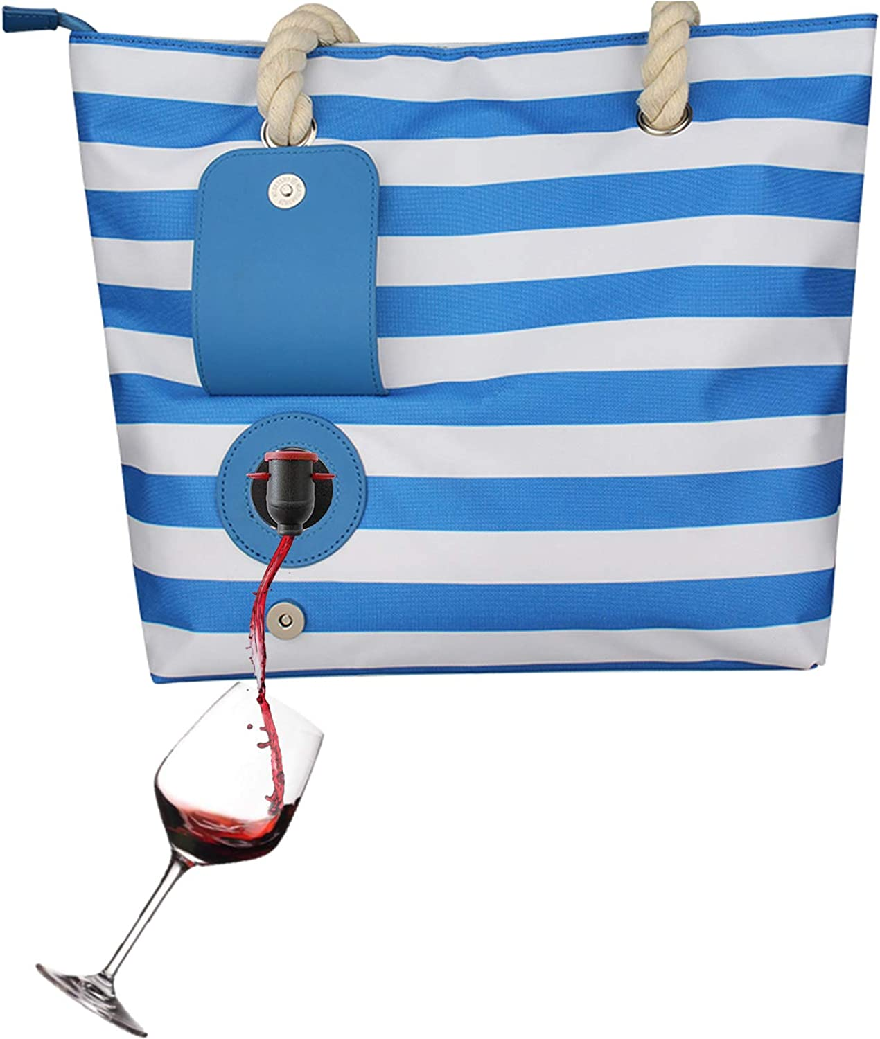 Beach Wine Bag, Casual Canvas Wine Tote Bag with Wine Bladder and Hidden Dispenser, Beach Tote Bag with Insulation Compartment Holds 2 Bottles of Wine (blue)