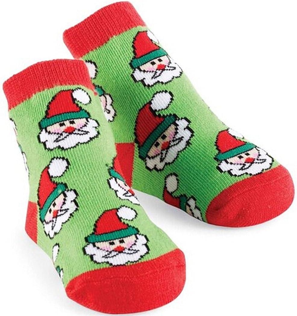0-12 Months Happy Santa Claus Face Sun Baby Christmas Socks Baby Warm Cotton Socks