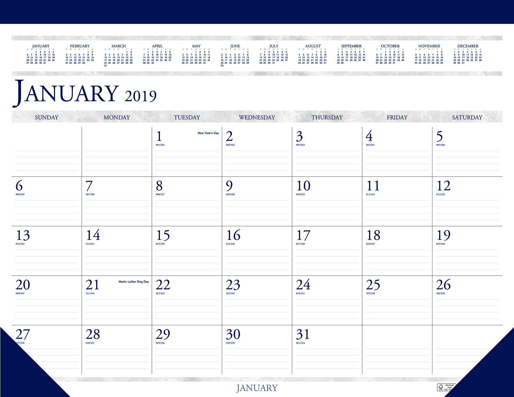 House of Doolittle 2019 Monthly Desk Pad Calendar, Classic, 22 x 17 inches, January - December (HOD150-19)