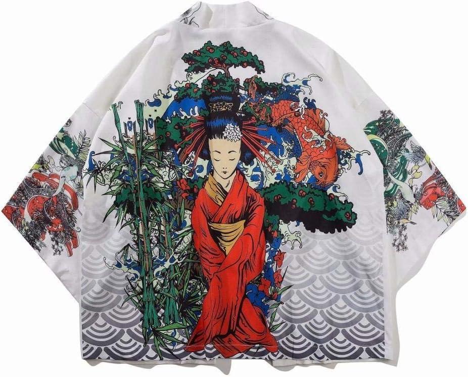 Kimono Cardigan Hembra Camisas Yukata Mujer Japonesa Kimono Tradicional Harajuku Carpa Imprimir Trajes De Ropa Asiática Kimono De Cosplay Kansa (Color, Size : XXL): Amazon.es: Hogar