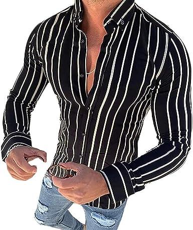 LIKEVER Camisa Casual de Manga Larga con Botones y Rayas ...
