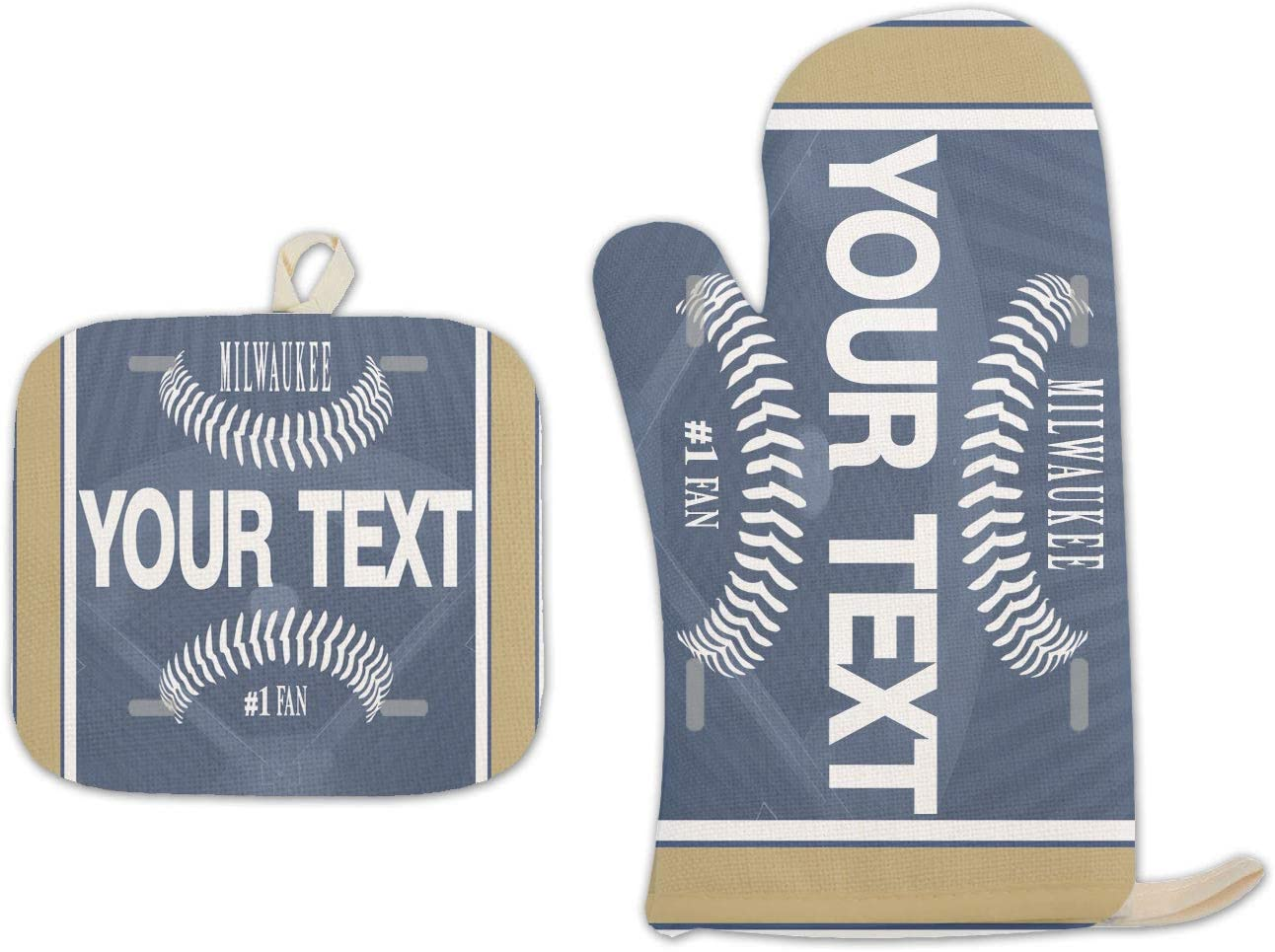 Bleu Reign BRGiftShop Personalized Custom Name Baseball Team Milwaukee Linen Oven Mitt and Potholder Set