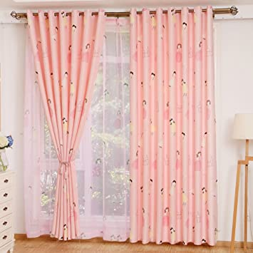 Amazon.com: Curtain cartoon printing white silk shading little ...
