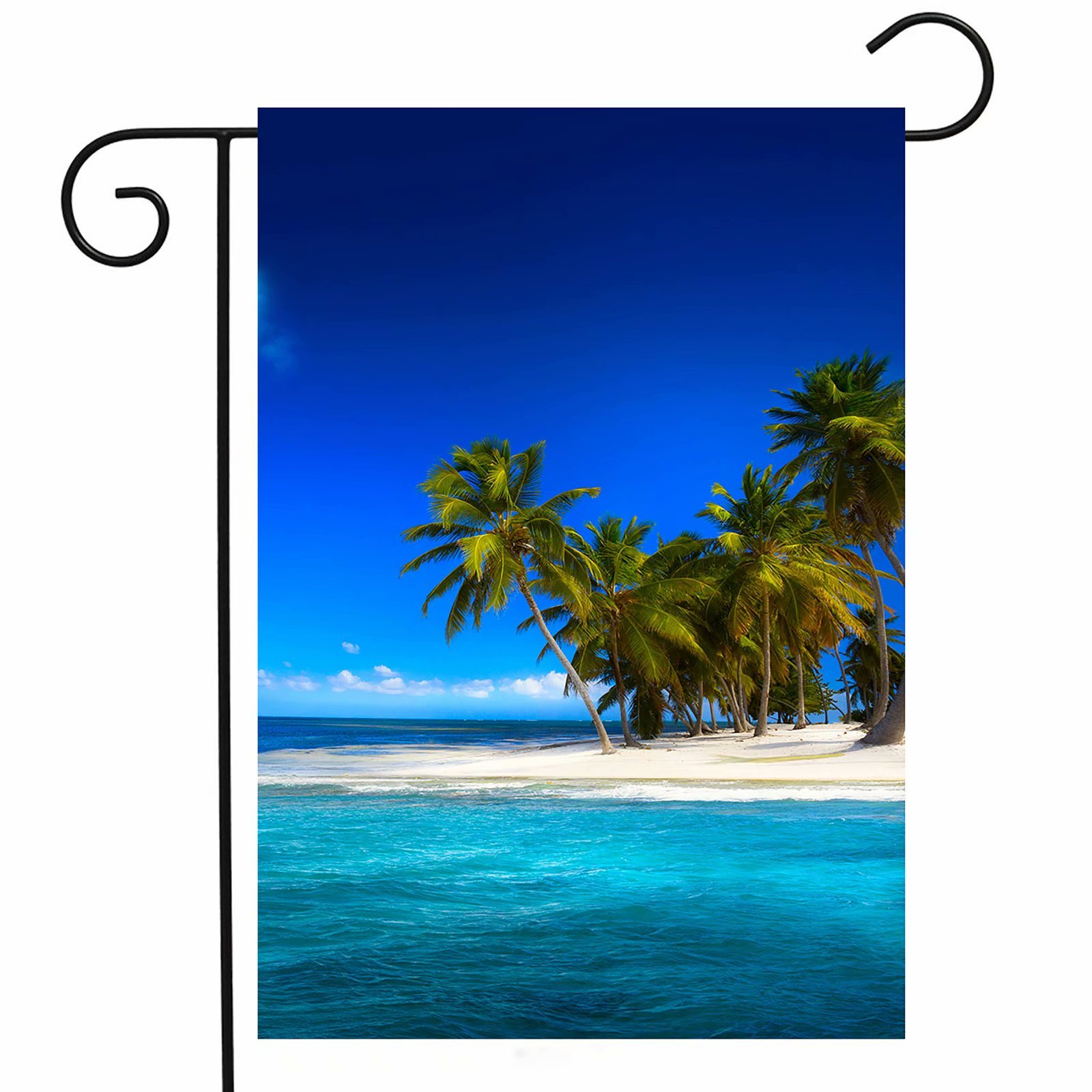 ShineSnow Summer Holiday Beach Palm Tree Garden Yard Flag 12''x 18'' Double Sided, Hawaii Tropical Island Seascape Ocean Blue Polyester Welcome House Flag Banners for Patio Lawn Outdoor Home Decor by ShineSnow