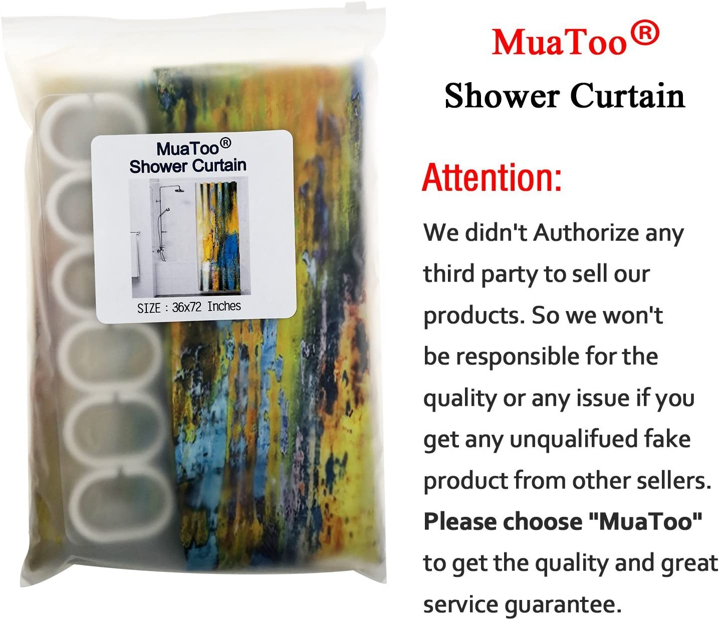 MuaToo Shower Curtain Marble Ink Texture Background Pattern Print Luxurious Graphic Print Polyester Fabric Bathroom Decor Sets with Hooks 72 x 78 Inches
