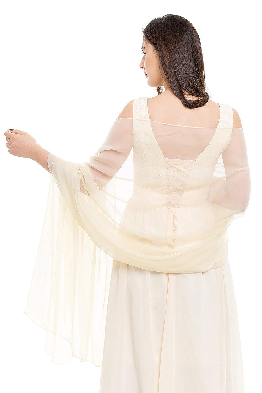 ff21d10560d Amazon.com: REEMONDE Womens Luxurious Soft Satin Chiffon Bridal ...