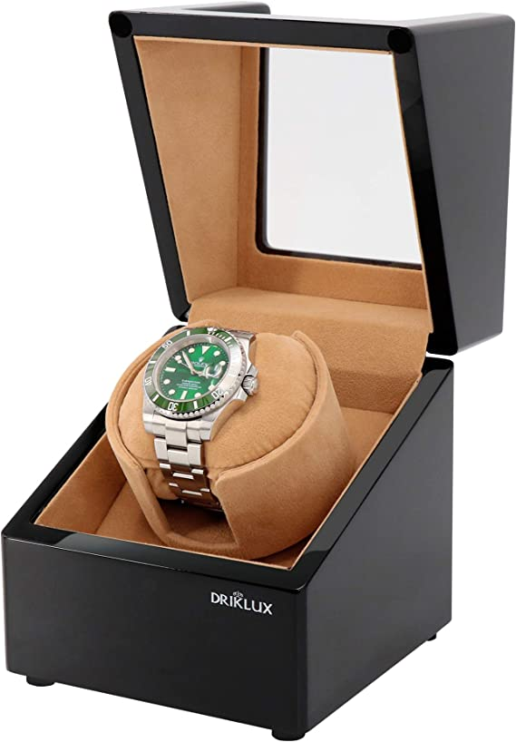 Driklux Automatic Single Watch Winder Box for Rolex with Quiet Motor - Premium Solid Wood Black Piano Exterior and Soft Flexible Watch Pillows