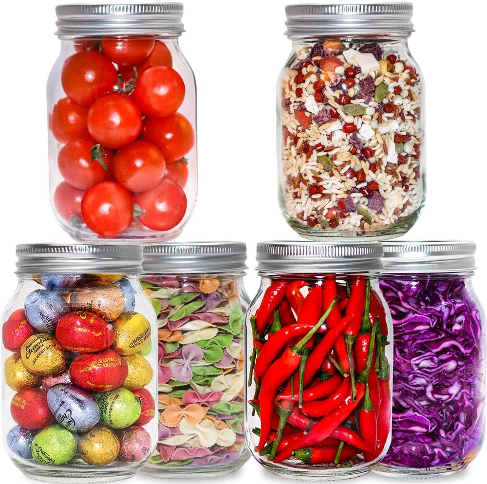 EAXCK Glass Pitcher,Mason Jars 16oz Glass Jars. with Silver Metal Airtight Lids for Food Storage, Canning, Drinking, Jelly, Dry Food, Salads, Yogurt (6 Pack) (16oz)