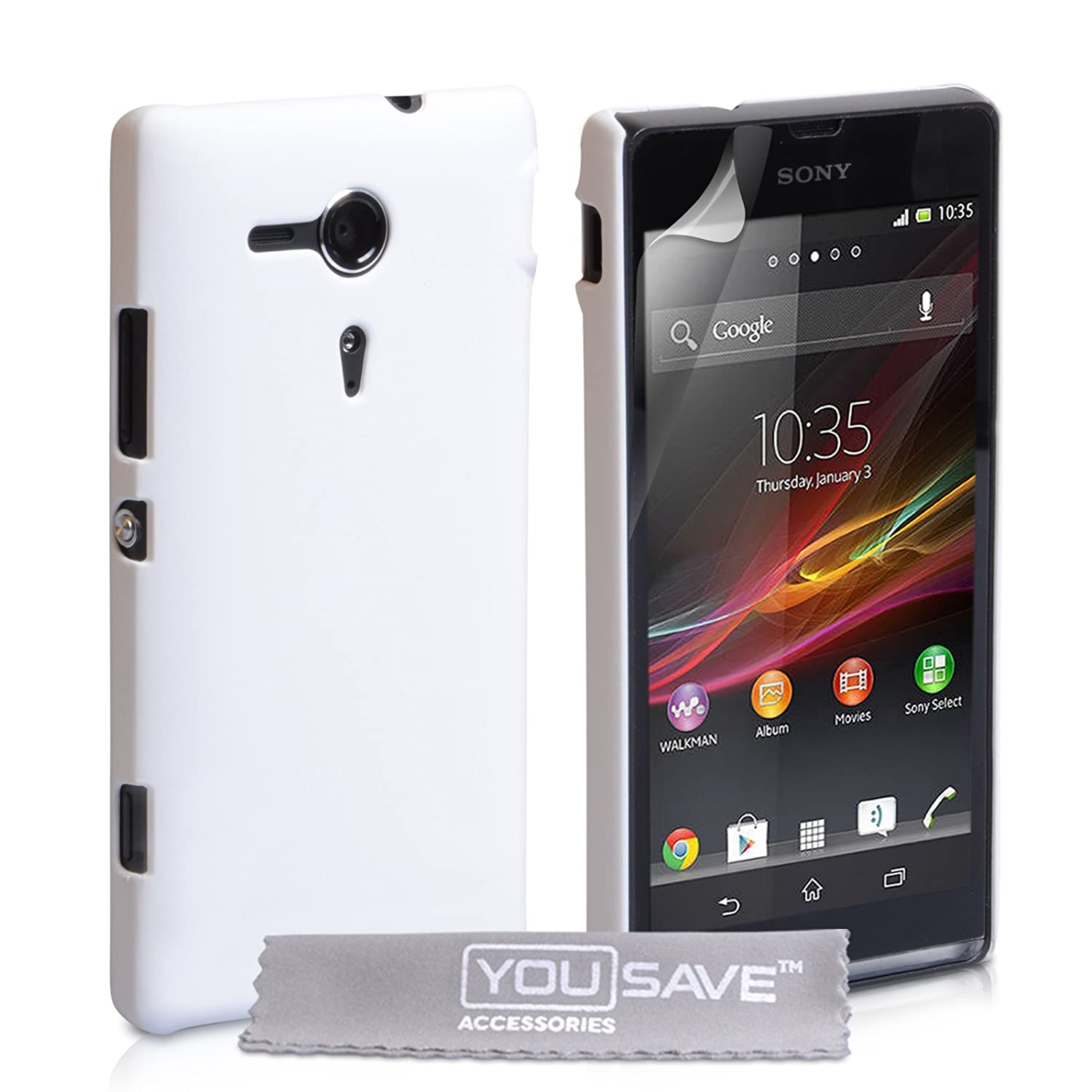 brand new 75a57 79b52 Yousave Accessories Case for Sony Xperia SP Case White Hard Hybrid Cover