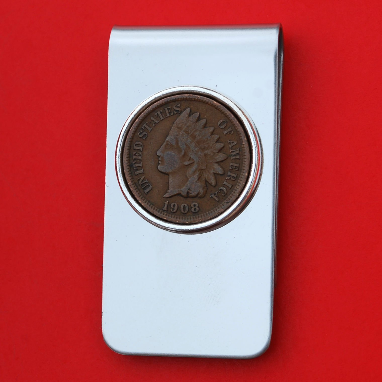 US 1908 Indian Head Small Cent Coin Silver Plated Stainless Steel Money Clip NEW - Lucky Penny