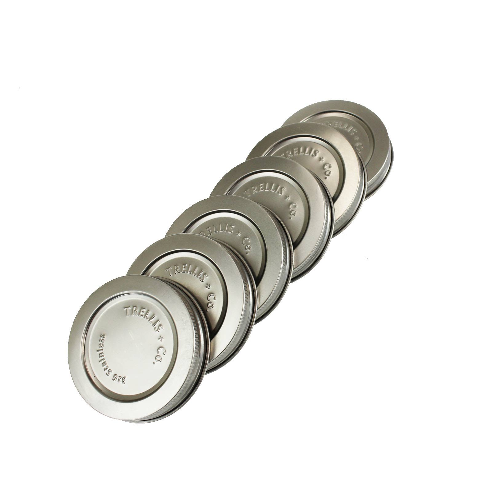 T&Co. STAMPED Stainless Steel Wide Mouth Mason Jar Lids/Tops - Set of 6 - For Pickling, Canning, Storage, Dry Goods - Durable & Rustproof - 316 Stainless