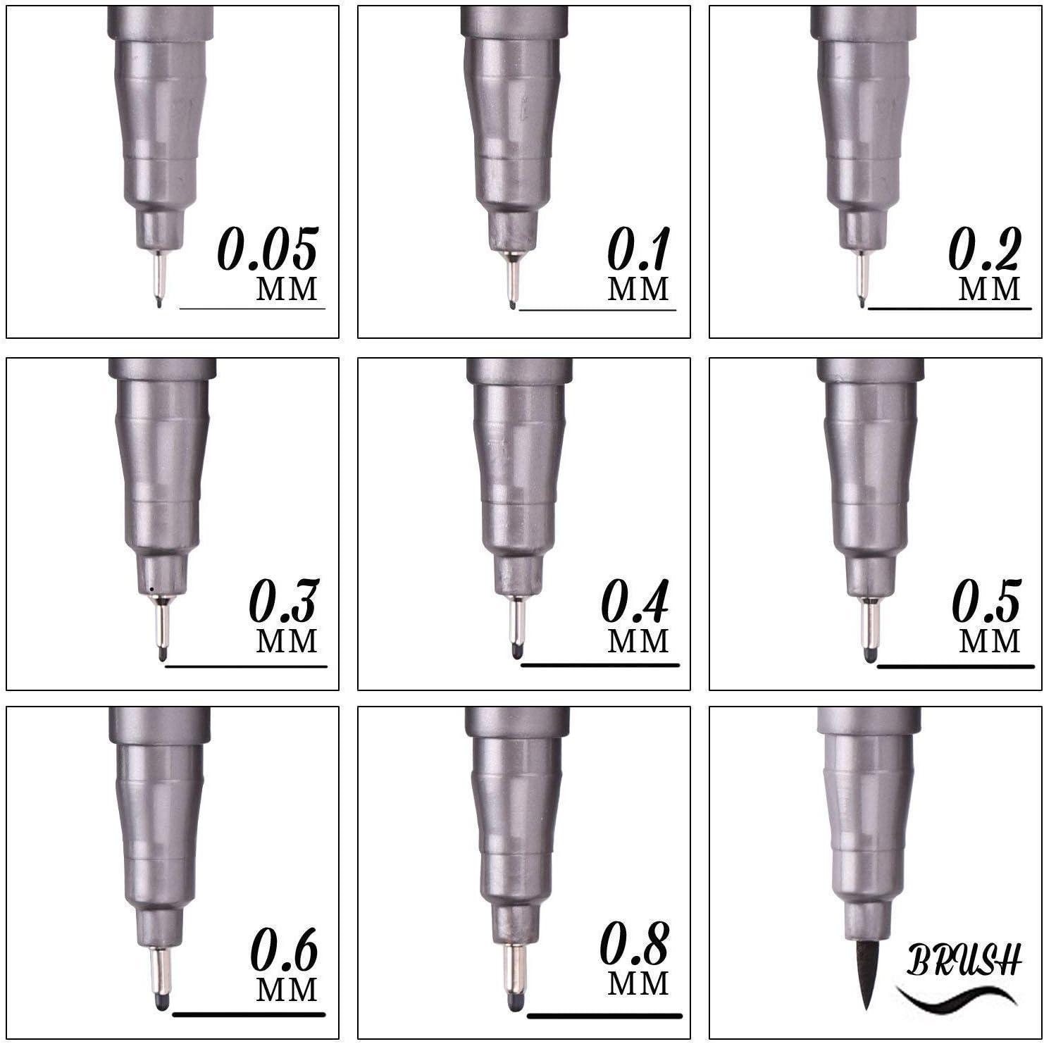 Plumas de L/ínea Fina 0,05 mm- 0,8mm Fineliner Drawing Pens para Ilustraci/ón Manga Dibujo Redacci/ón Office de Documentos Funnasting Negros Punta Fina