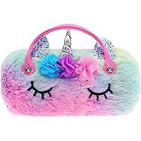 Kids Girls Boys Eyeglass Case Glasses Pouch unicorn Dazzling Sparkle Glitter Hard Shell with Handle