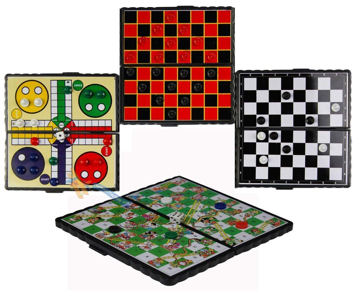 Magnetic Travel Board Games Set of 4 Chess Ludo Snakes and Ladders Draughts Game The Magic Toy Shop .