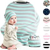 Cool Beans Baby Car Seat Canopy and Nursing Cover | Multiuse - Soft and stretchy fabric easily covers High Chairs, Shopping Carts, Car Seats | BONUS Infant Baby Beanie and Bag (Blue and Grey)
