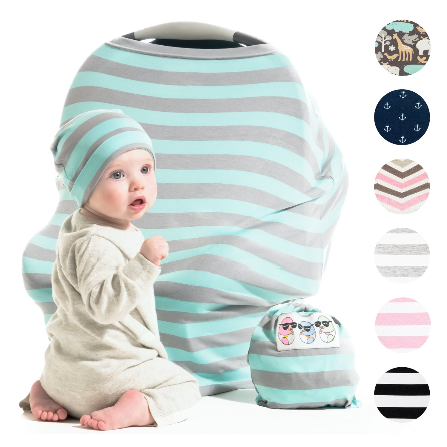 Cool Beans Baby Car Seat Canopy and Nursing Cover | Multiuse - Soft and stretchy fabric easily covers High Chairs, Shopping Carts, Car Seats | BONUS Infant Baby Beanie and Bag (Black and White)