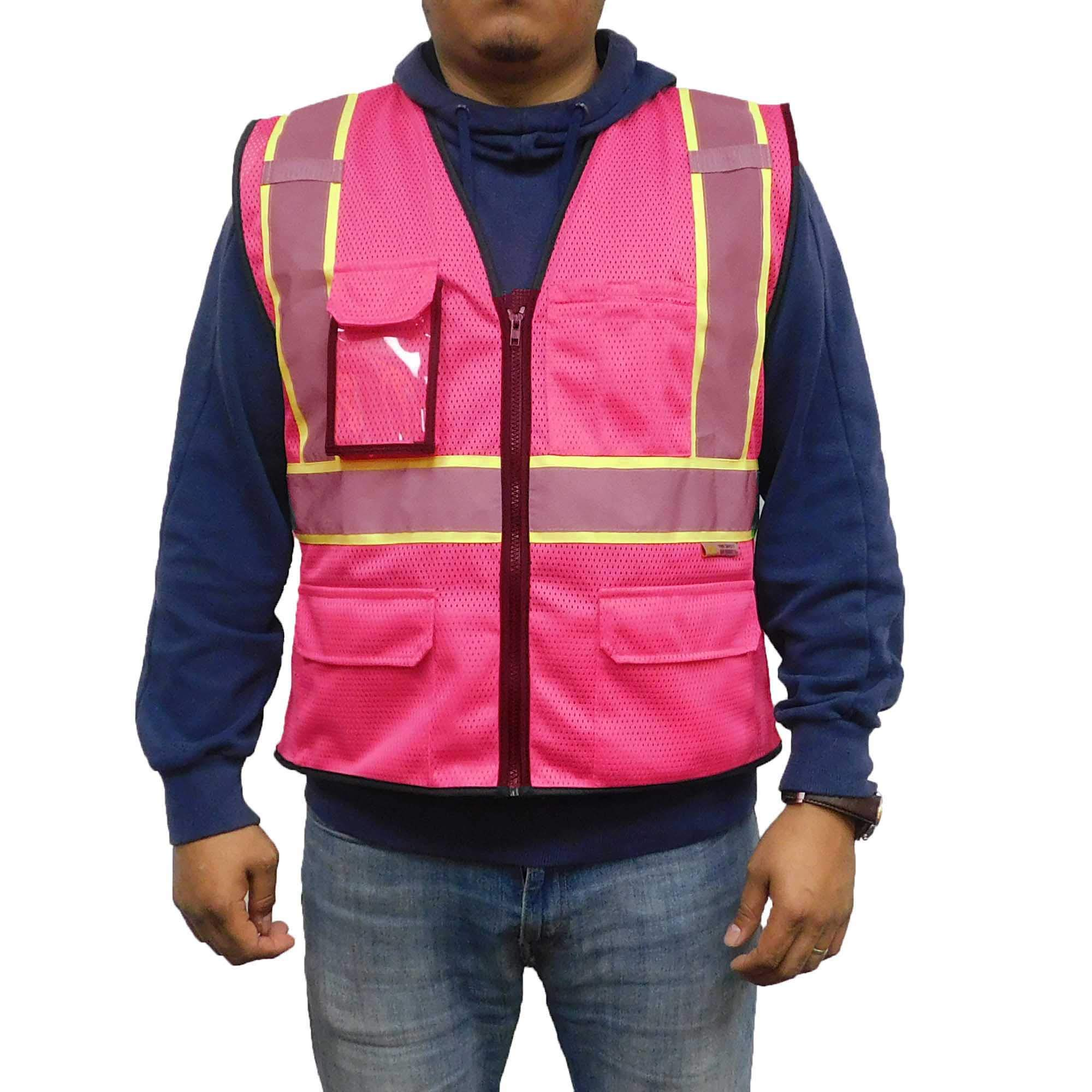 """3C Products SV2570 Deluxe Ultra Cool Mesh Safety Vest 2"""" Reflective w/Yellow Binding Zipper 9 Pockets Hot Pink"""