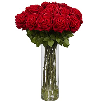 Amazon nearly natural 1214 giant rose silk flower arrangement nearly natural 1214 giant rose silk flower arrangement red mightylinksfo