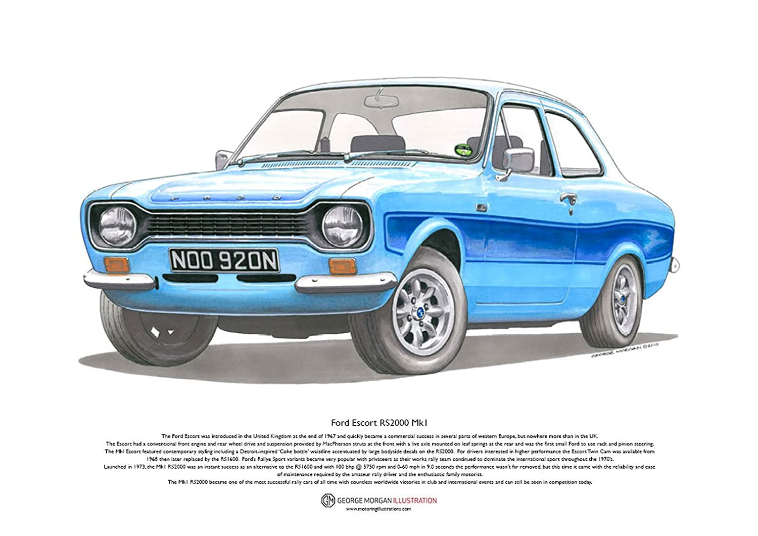 George Morgan Illustration Art Cartel de Ford Escort RS2000 ...