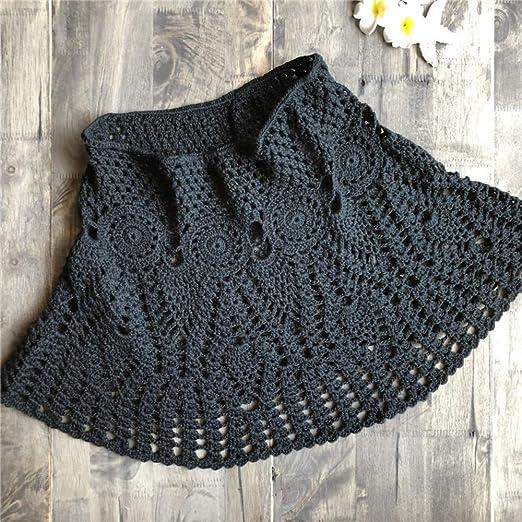 QZBTU Faldas Mujer Falda De Playa A-Line Hollow out Minifalda De ...