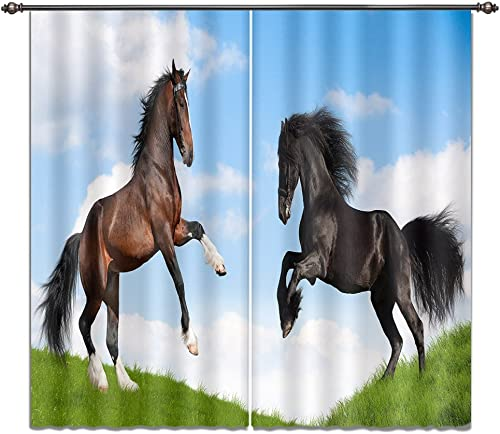 LB Horse Window Curtains for Bedroom Living Room,Standing Horse on The Grass Teen Kids Room Darkening Thermal Insulated Blackout Curtains Drapes 2 Panels,28 x 65 inch Length