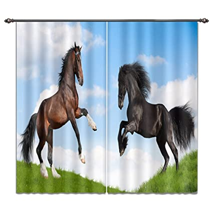 Horse Curtains For Bedroom.Lb Horse Window Curtains For Bedroom Living Room Standing Horse On The Grass Teen Kids Room Darkening Thermal Insulated Blackout Curtains Drapes 2