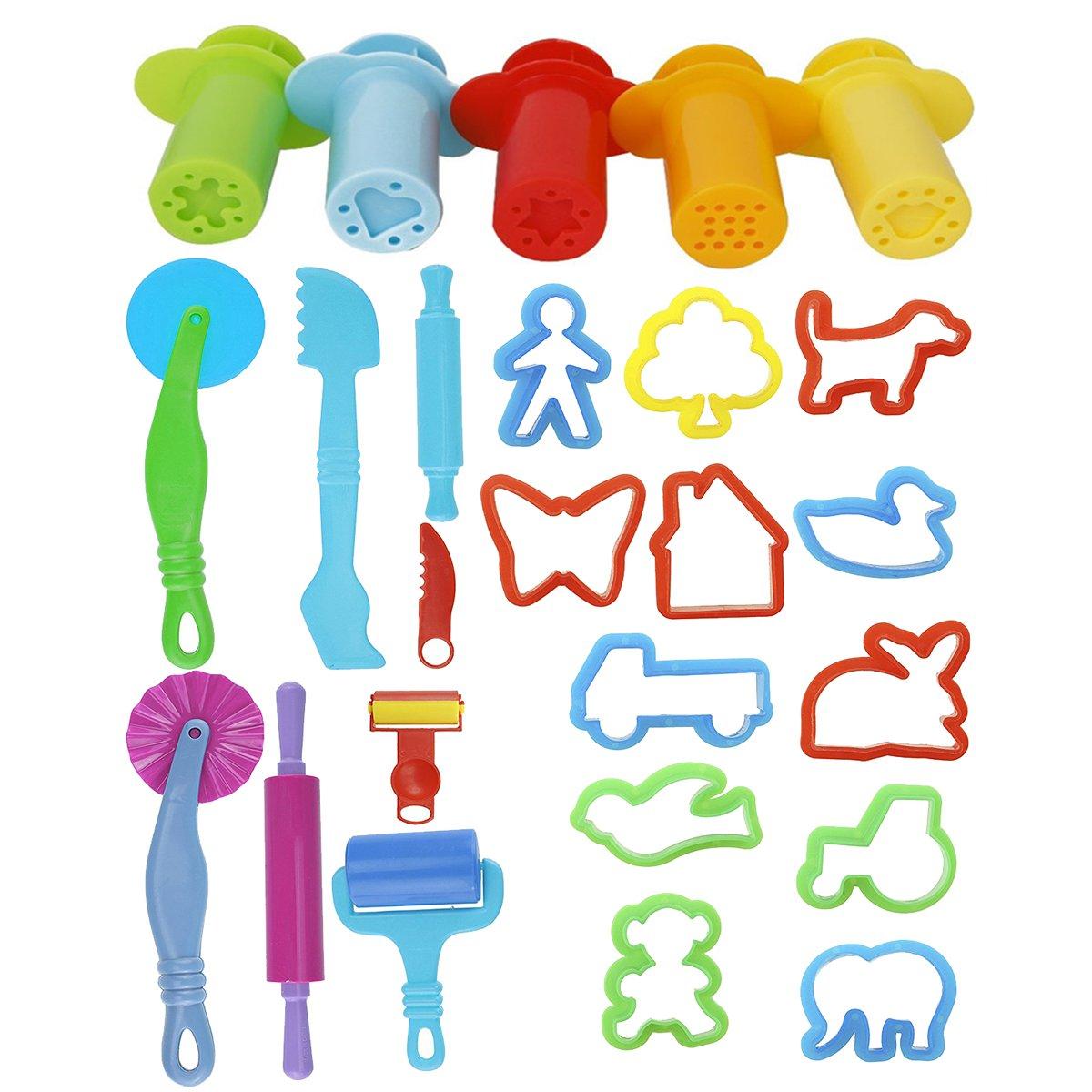 ULTNICE Gioca gli attrezzi intelligenti della pasta di 20pcs dei kit di Doh con gli attrezzi dell'estrusore 5pcs (colore casuale)