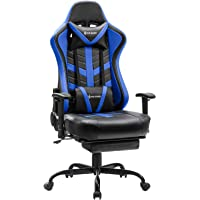 VON RACER Massage Gaming Chair with Pull-Out Footrest, Swing Swivel PU Leather Ergonomic PC Executive Office Desk Chair…