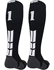 MadSportsStuff Player Id Jersey Number Socks Over The Calf Length Black and White
