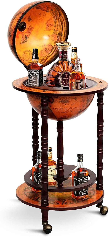 Happygrill Wine Bar Stand Italian Wooden Globe Wine Rack Liquor Bottle Shelf 16th Century Retro Wine Cupboard With Wheels Home Kitchen