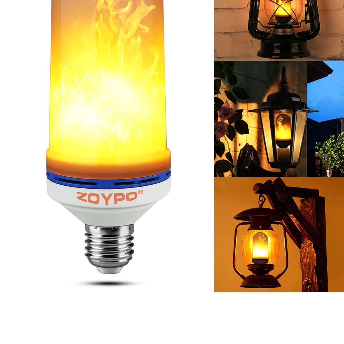 ZOYPO LED Flame Effect Light Bulb, E26 LED Flickering Fire-Effect Light Bulbs, 105pcs 2835 LED Beads (6.1 x 2.3 inches) Atmosphere Lighting Vintage Fire-Effect Light Bulb for Home/Business Decoration