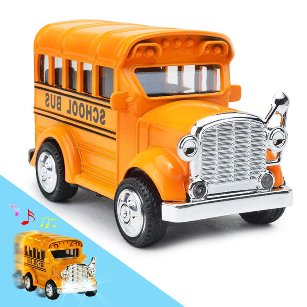 THREE BEARS School Bus Toy Die Cast, Classic Diecast Model Cars, Pull-Back Toy Vehicles with Lights and Sounds 1:36 scale (Yellow)