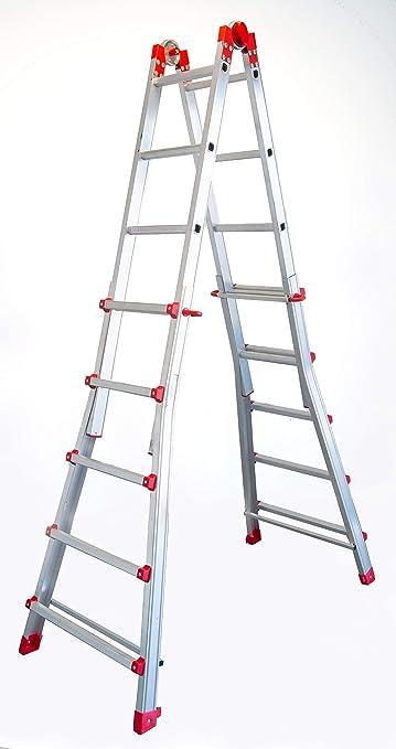 FARAONE 1 Escalera Telescópica Multiusos 10 Peldaños, Metálico: Amazon.es: Bricolaje y herramientas