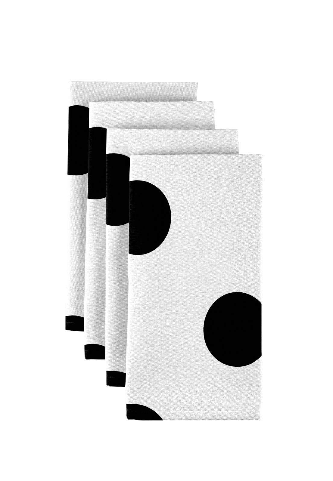 Fabric Textile Products Black & White 3'' Dot Napkins 18''x18''