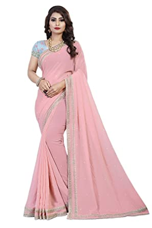 3c6eefbd10 Ethnic Wings Women's Faux Georgette Saree with Blouse Piece, Free Size  (Eww_10660, Pink