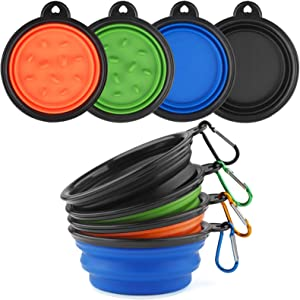 YiMee Collapsible Dog Bowl, Food Grade Silicone Portable Travel Dog Bowls for Small Medium Pet Dog Cat, Foldable Slow Feeder Dog Bowls Design, Collapsible Feeding Watering Dish for Traveling