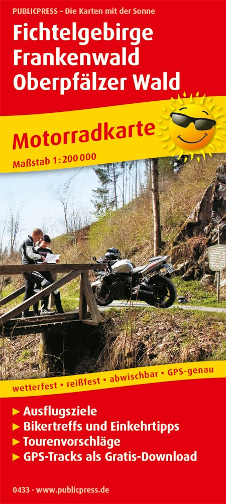 Fichtelgebirge - Frankenwald - Oberpfälzer Wald: Motorradkarte mit Ausflugszielen, Einkehr- & Freizeittipps und Tourenvorschlägen, wetterfest, ... GPS-genau. 1:200000 (Motorradkarte / MK) Landkarte – Folded Map, 1. Juli 2018 PUBLICPRESS 3747304338 Bade