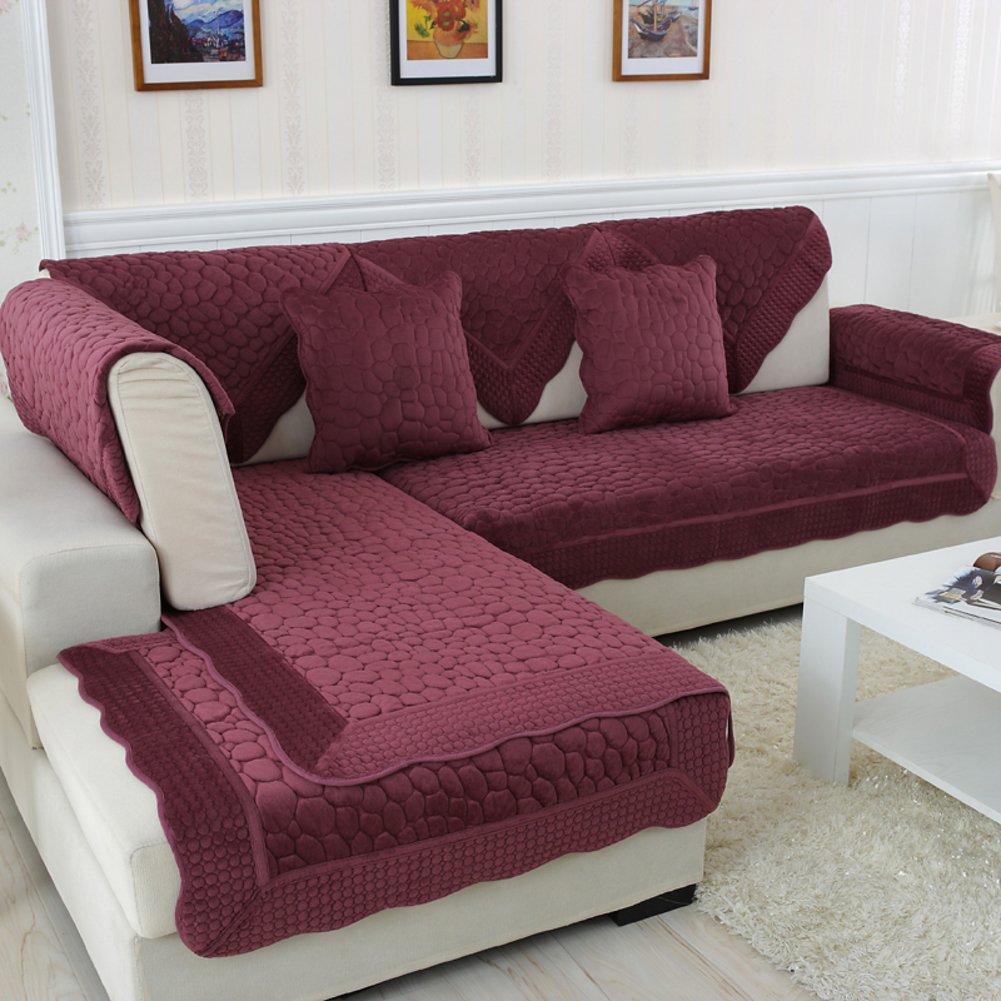 リバーシブルSectionalソファースローカバーパッドソファー家具プロテクターfor Pets Kids All Season PlushソファーSlipcovers L形状Couch cover-1 piece-c 28 x 83inch (70 x 210 cm)   B07D38JK6W