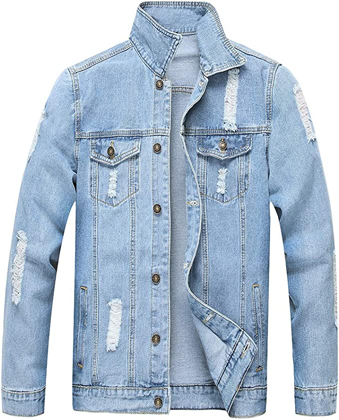 LZLER Jean Jacket for Men, Classic Ripped Slim Denim Jacket with Holes