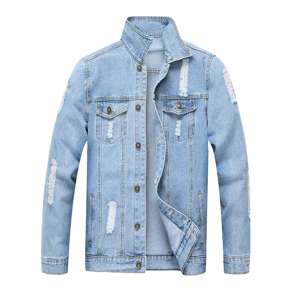 LZLER Jean Jacket for Men, Classic Ripped Slim Denim Jacket with Holes by LZLER