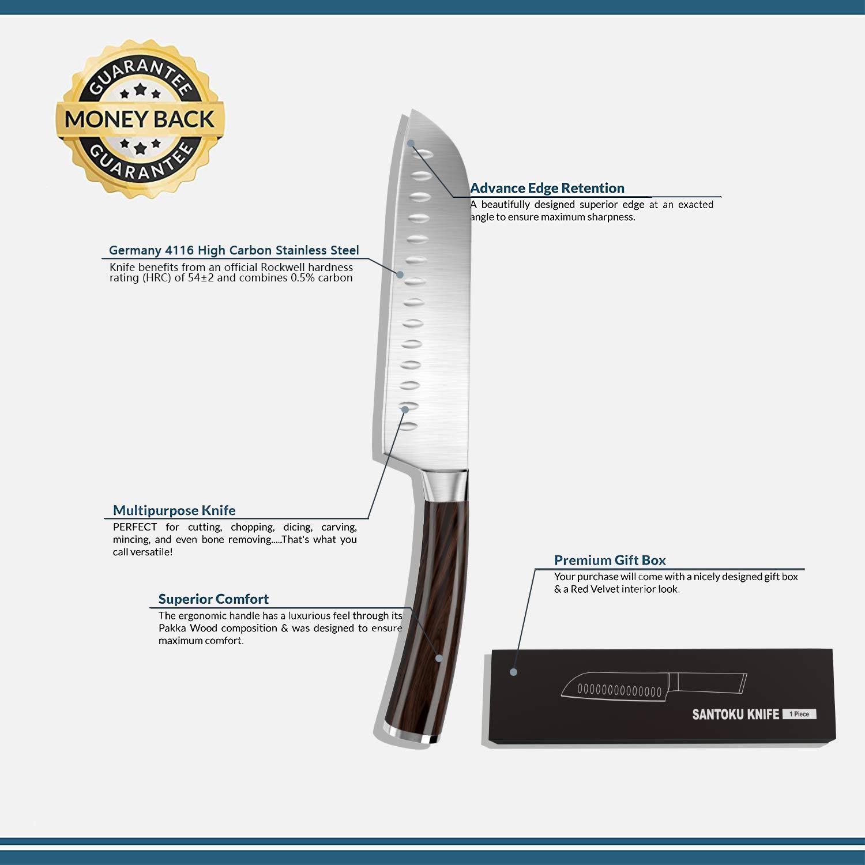 GogoTool Cuchillo Santoku 17cm en Acero Alemán, Cuchillo de Cocina Japonés con Mango de Madera Pakka Ergonómico - Hoja Anti-Corrosión y Anti-Barniz - ...