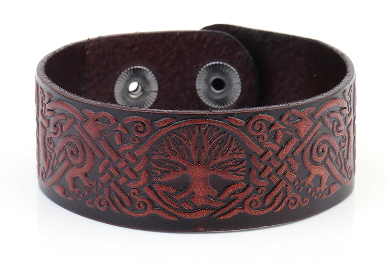 Dawapara Punk Tree of Life Yggdrasil Celtic Knot Raven Bird Cuff Leather Bracelet Viking Jewelry YiYou UK_B07BP715VC