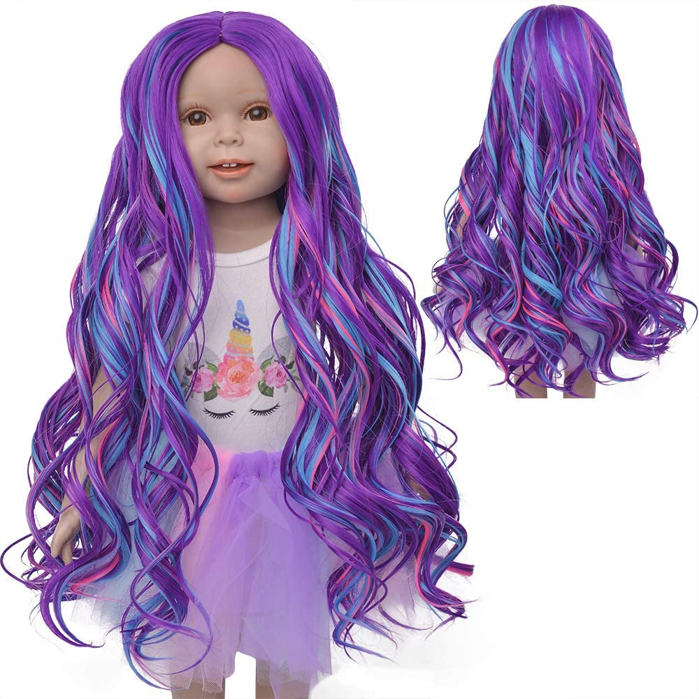 MUZI WIG 18 Inch Doll Hair Wigs Girls Gift, Purple Blue Long Curly Doll Wig for for 18'' Dolls DIY Making Supplies
