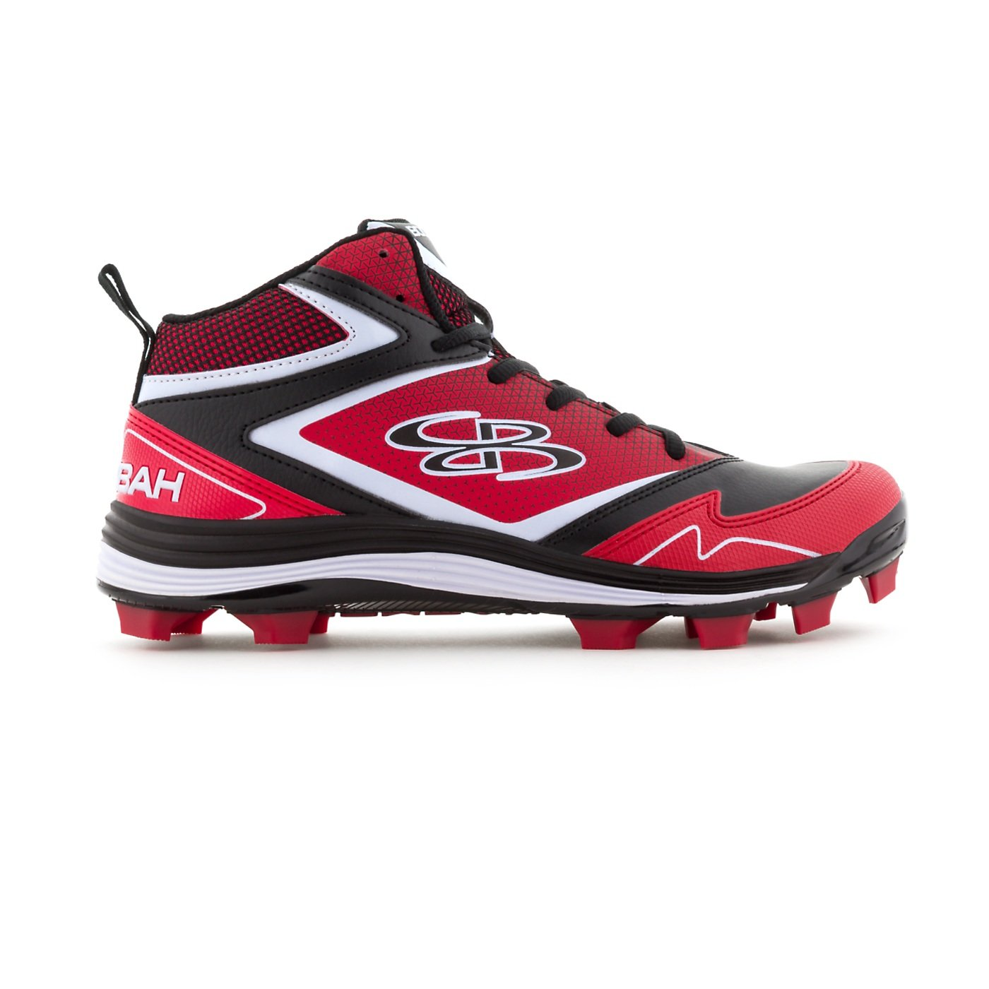 Boombah Women's A-Game Molded Mid Cleats Black/Red - Size 7.5 by Boombah